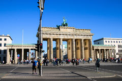 The Brandenburg Gate in Berlin at sunrise, Germany. The Brandenburg Gate in Berlin at sunrise royalty free stock photos