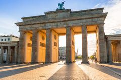 The Brandenburg Gate in Berlin at sunrise royalty free stock photos