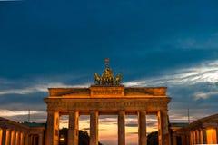 Berlin. Sunset over Brandenburg Gate in  Berlin  Germany Stock Image