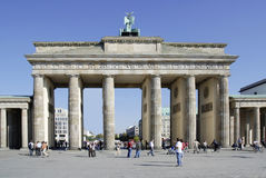 Brandenburg Gate in Berlin. Tourists in front of the Brandenburg Gate in Berlin royalty free stock photography