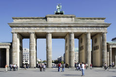 Brandenburg Gate in Berlin. Tourists in front of the Brandenburg Gate in Berlin stock photos