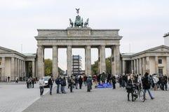 Brandenburg gate in Berlin. Tourists in front of the Brandenburg gate in Berlin, Germany stock photos