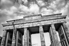Brandenburg Gate in Berlin. Brandenburg Gate - a Triumphal Arch, one of the most popular landmarks in Berlin. It is a site for major historical events and a royalty free stock photos