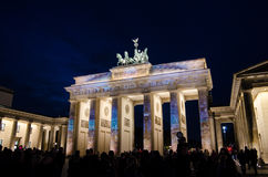 Brandenburg Gate in Berlin during videomapping. Brandenburg Gate in Berlin, Germany, night stock photos