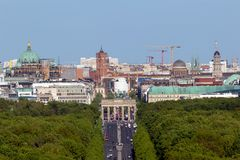 Brandenburg gate Berlin view. View over Berlin with the Brandenburg Gate from the Berlin Victory Column panorama germany skyline background city downtown europe stock images