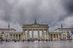 Brandenburg Gate in Berlin. A view of the Brandenburg Gate in a rainy day royalty free stock photo