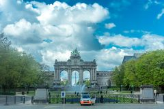 Brandenburg Gate in Brussels at Parc du Cinquantenaire in Brusse stock photo