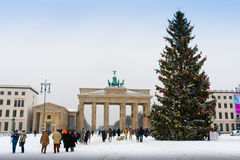 The Brandenburg Gate and Christmas tree in Berlin royalty free stock images