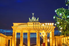 Brandenburg gate and christmas tree. In Berlin, Germany Royalty Free Stock Images