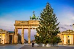 Brandenburg gate and christmas tree Stock Photo