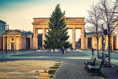 Brandenburg gate and christmas tree Royalty Free Stock Image