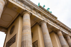 Brandenburg gate closeup view in Berlin. Closeup view of brandenburg gate with columns and  horses in Berlin , Germany Royalty Free Stock Images
