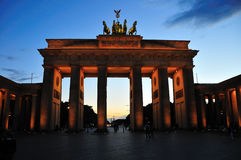Brandenburg gate at dusk. The Brandenburg gate in Berlin, Germany as seen from the paris place royalty free stock images