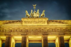 Brandenburg gate at dusk. Berlin Stock Photography