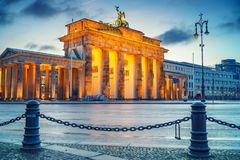 Brandenburg gate at dusk. Berlin Royalty Free Stock Image
