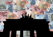 Brandenburg gate with euros Stock Image