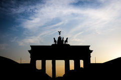 Brandenburg Gate famous landmark in Berlin. Brandenburger Tor landmark in Berlin, Germany as a neoclassical triumphal arch Stock Images