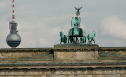 The Brandenburg Gate and The Fernsehturm, Berlin, Germany Stock Image
