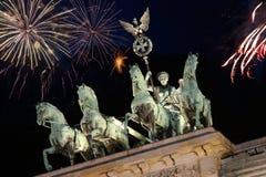 Brandenburg Gate with fireworks Royalty Free Stock Image