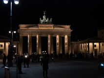 Brandenburg Gate in Berlin, Germany at night, Illuminated. royalty free stock photos