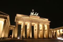 Brandenburg Gate At Night Stock Images