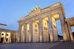Brandenburg gate at night, Berlin Royalty Free Stock Images