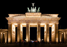 Brandenburg Gate at night Stock Image