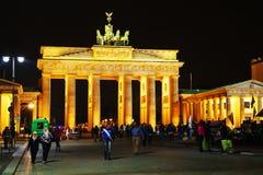 Brandenburg gate in the night stock photos