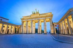 The Brandenburg Gate at night the famous place in Berlin, Germany stock images