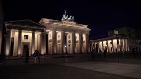 Brandenburg Gate At Night Lights, Berlin, Germany stock video footage