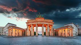 Brandenburg Gate panorama, Berlin - Time lapse, Germany. stock footage