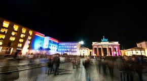Brandenburg gate panorama. Brandenburg gate at night panorama. Festival of Lights illumination stock image
