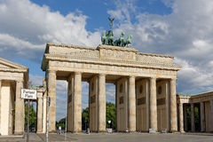 Brandenburg Gate with Pariser Platz street sign Stock Images