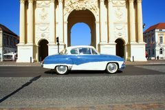 Brandenburg Gate in Potsdam with retro car Stock Photos
