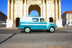 Brandenburg Gate in Potsdam with retro car Royalty Free Stock Images