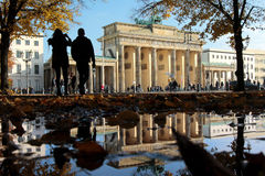 Brandenburg Gate with puddle Stock Image