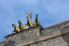 The Brandenburg Gate quadriga a evening. Stock Photo