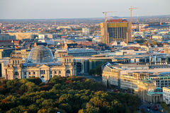 The Brandenburg Gate and Reichstag building  Berlin at sunrise, Germany Royalty Free Stock Image