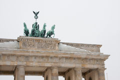 The Brandenburg Gate with snow in Berlin Stock Image
