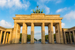 Brandenburg Gate at sunrise, Berlin, Germany. Famous Brandenburger Tor (Brandenburg Gate), one of the best-known landmarks and national symbols of Germany, in stock images