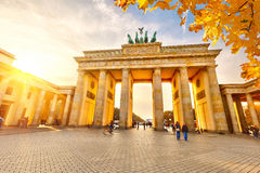 Brandenburg gate at sunset Stock Images