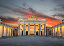 Brandenburg Gate at sunset, Berlin, Germany Royalty Free Stock Image