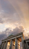 Brandenburg Gate at sunset Stock Photo