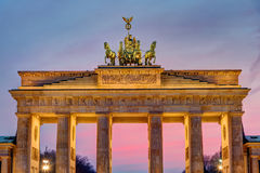 The Brandenburg Gate after sunset Royalty Free Stock Photos