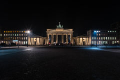 The Brandenburg Gate. Is an 18th-century neoclassical triumphal arch in Berlin, Germany. Night illumination Royalty Free Stock Image