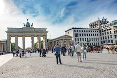 Brandenburg Gate, Berlin. Brandenburg Gate . At the time of the DDR the gate was part of the wall between East and West Germany stock photos