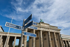 Brandenburg Gate and Tourist Signs Royalty Free Stock Photos