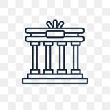 Brandenburg gate vector icon isolated on transparent background, vector illustration