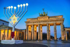 Brandenburg Hanukkah i bramy menorah Zdjęcia Royalty Free