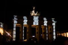 BRANDENBURG PORT, BERLIN - Oktober 14, 2017: Festival av ljus Arkivfoton